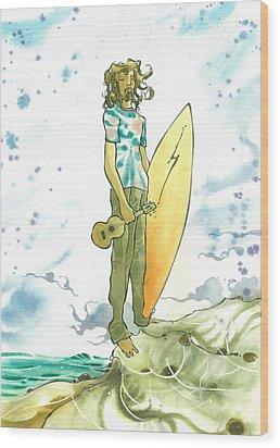 Hippy Surf Wood Print