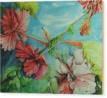 Hiroko's Hibiscus 3 Wood Print by Rachel Lowry