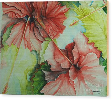 Hiroko's Hibiscus Wood Print by Rachel Lowry