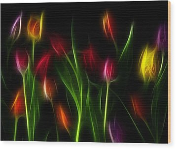 Wood Print featuring the digital art His Tulips by Karen Showell