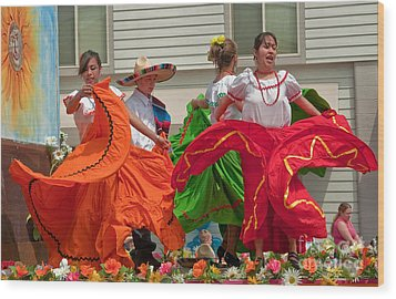 Hispanic Women Dancing In Colorful Skirts Art Prints Wood Print by Valerie Garner