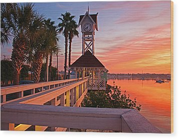 Historic Bridge Street Pier Sunrise Wood Print by HH Photography of Florida