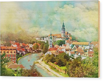 Historic Centre Of Cesky Krumlov Wood Print by Catf