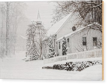 Wood Print featuring the photograph Historic Church In Oella Maryland During A Blizzard by Vizual Studio