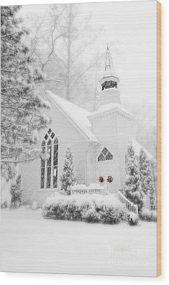 Wood Print featuring the photograph White Christmas In Oella Maryland Usa by Vizual Studio