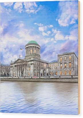 Historic Four Courts In Dublin Ireland Wood Print by Mark E Tisdale