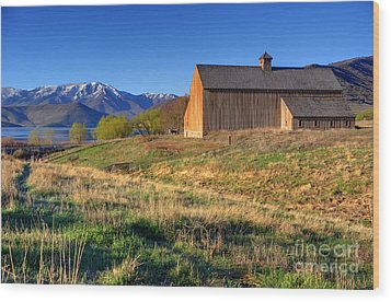 Historic Francis Tate Barn - Wasatch Mountains Wood Print by Gary Whitton