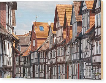 Historic Houses In Germany Wood Print by Heiko Koehrer-Wagner