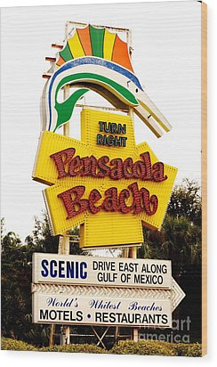 Historic Pensacola Beach Sign Wood Print by Janice Spivey