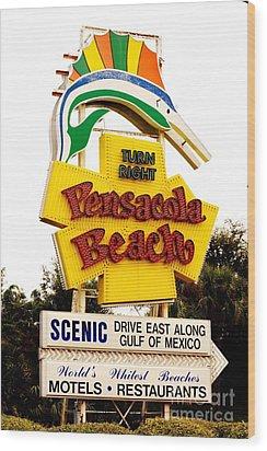 Historic Pensacola Beach Sign Wood Print