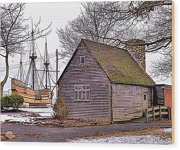 Historic Plymouth Ma Harbor Wood Print by Janice Drew