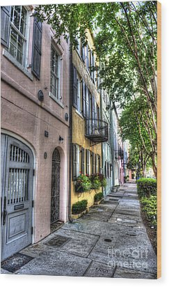 Historic Rainbow Row Wood Print