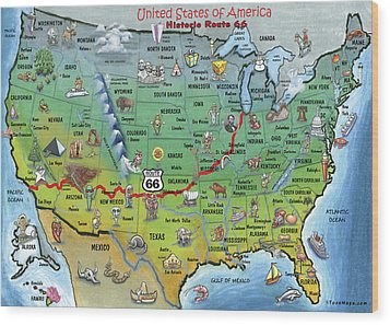 Historic Route 66 Cartoon Map Wood Print