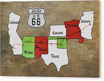 Historic Route 66 - The Mother Road Wood Print by Christine Till