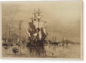Historic Seaport Schooner Wood Print by John Stephens
