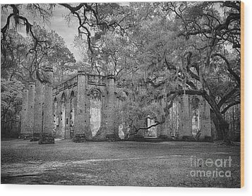 Historic Sheldon Church 6 Bw Wood Print