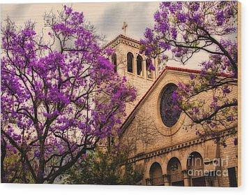 Historic Sierra Madre Congregational Church Among The Purple Jacaranda Trees  Wood Print by Jerry Cowart