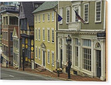 Historic Street In Providence Ri Wood Print by Nancy De Flon