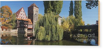 historic winestorage and executioner bridge in Nuremberg Wood Print by Rudi Prott