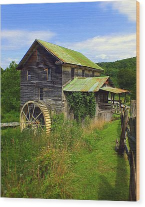 Historical Whites Mill Wood Print by Karen Wiles