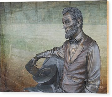 History - Abraham Lincoln Contemplates -  Luther Fine Art Wood Print by Luther Fine Art