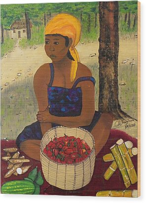 History Behind Caribbean Food Produces Wood Print by Nicole Jean-Louis