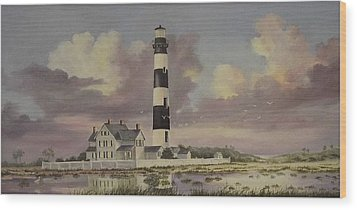History Of Morris Lighthouse Wood Print by Wanda Dansereau