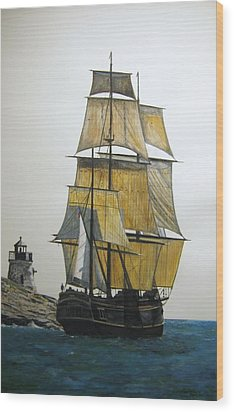 Wood Print featuring the painting Hms Bounty by Stan Tenney