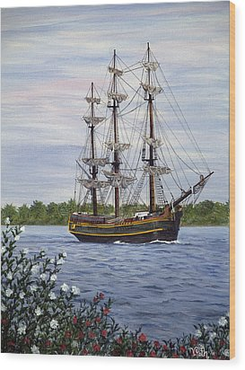 Hms Bounty Wood Print by Vicky Path