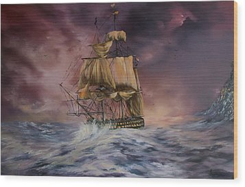 H.m.s Victory Wood Print by Jean Walker