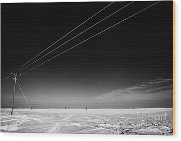 Hoar Frost Covered Electricity Transmission Lines Snow Covered Prairie Agricultural Farming Land Wit Wood Print by Joe Fox