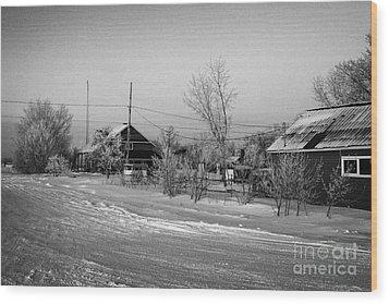 hoar frost covered street in small rural village of Forget Saskatchewan Canada Wood Print by Joe Fox