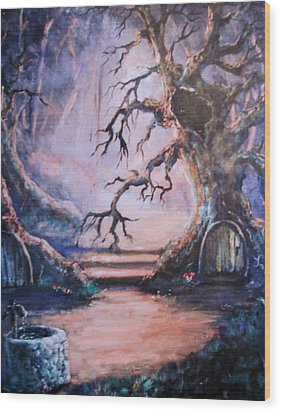 Hobbit Watering Hole Wood Print by Megan Walsh