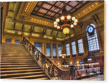 Hoboken Terminal Wood Print by Anthony Sacco