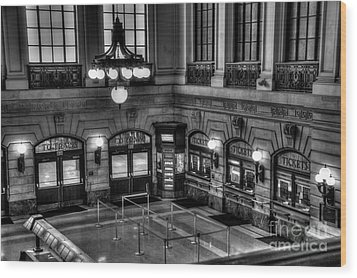 Hoboken Terminal Waiting Room Wood Print by Anthony Sacco