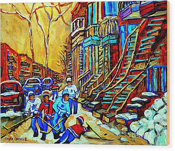 Hockey Art Montreal Winter Scene Winding Staircases Kids Playing Street Hockey Painting  Wood Print by Carole Spandau