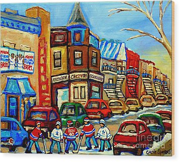 Hockey Art Montreal Winter Street Scene Painting Chez Vito Boucherie And Fairmount Bagel Wood Print by Carole Spandau