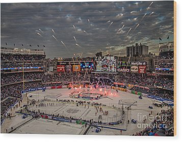 Hockey At Yankee Stadium Wood Print