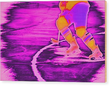 Hockey Freeze Wood Print by Karol Livote