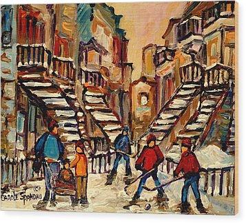 Hockey Game Near Winding Staircases Montreal Streetscene Wood Print by Carole Spandau