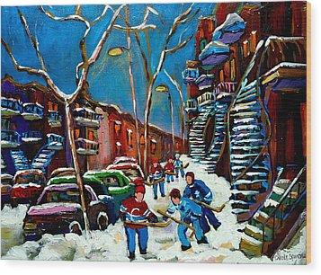 Hockey Game On De Bullion Montreal City Scene Wood Print by Carole Spandau