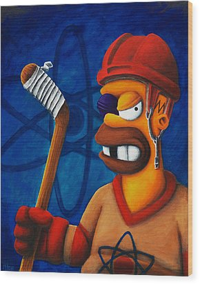 Hockey Homer Wood Print by Marlon Huynh