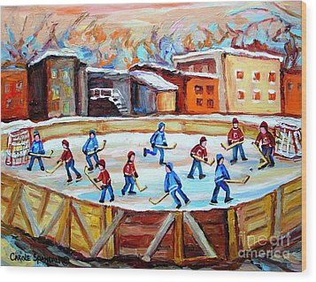 Hockey In The City Outdoor Hockey Rink Montreal Memories Winter City Scenes Painting Carole Spandau  Wood Print by Carole Spandau