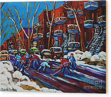 Hockey On De Bullion Montreal Wood Print by Carole Spandau
