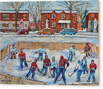 Hockey Rink At Van Horne Montreal Wood Print by Carole Spandau