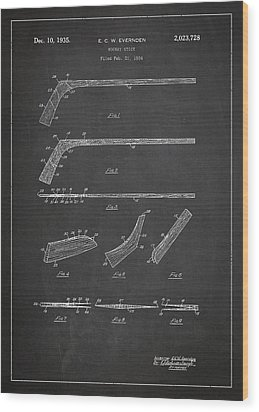 Hockey Stick Patent Drawing From 1934 Wood Print by Aged Pixel