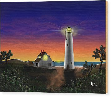 Hog Island Sunrise Wood Print by Patrick Belote