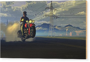 Hog Rider Wood Print by Dieter Carlton