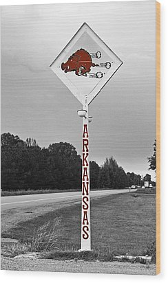 Hog Sign - Selective Color Wood Print