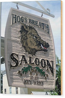 Wood Print featuring the photograph Hog's Breath Saloon by Fiona Kennard